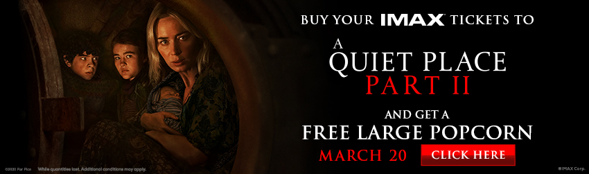 A QUIET PLACE: PART II IMAX Free Popcorn Offer image